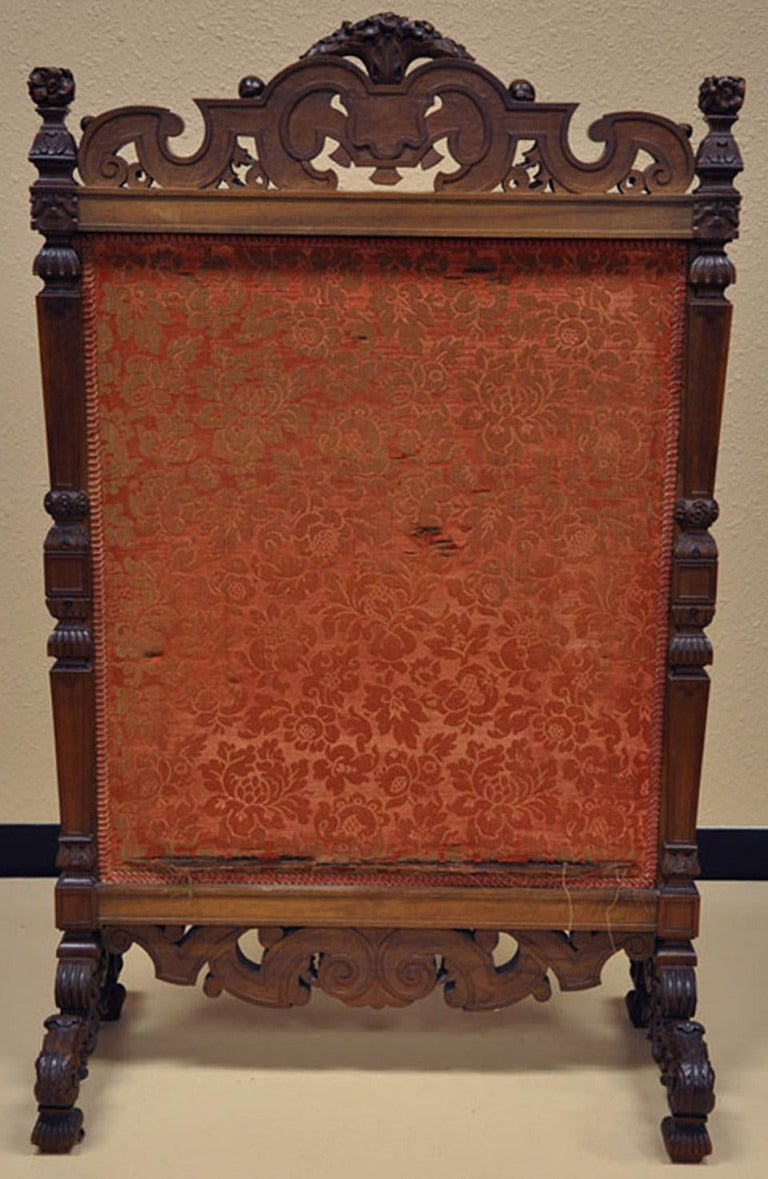 19th Century French Hand Carved Walnut Needlepoint Fireplace Screen For Sale At 1stdibs
