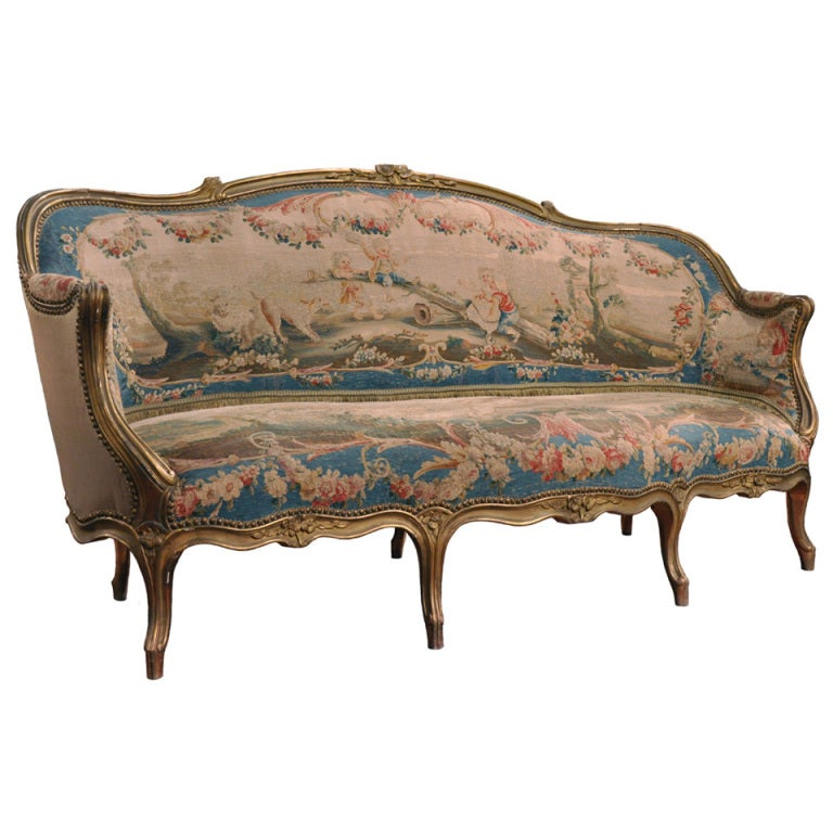 19th century french louis xv canape banquette sofa with for Louis xv canape sofa
