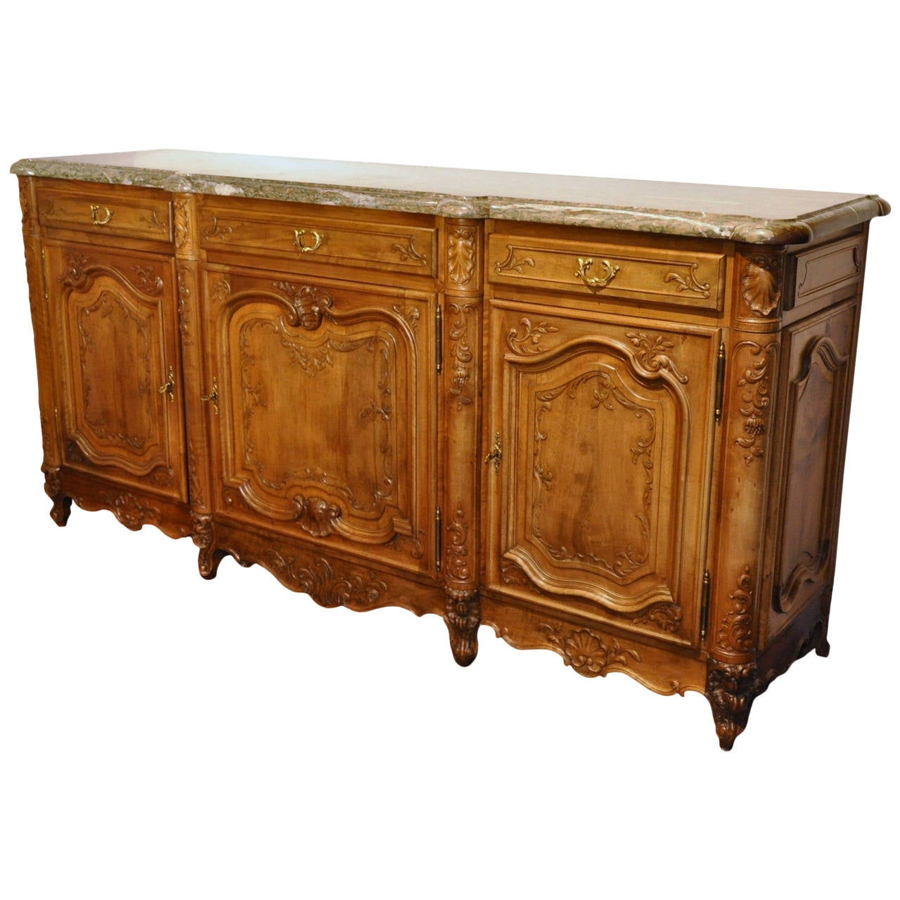 Mid-20th Century French Louis XV Carved Walnut Buffet with Grey Marble Top
