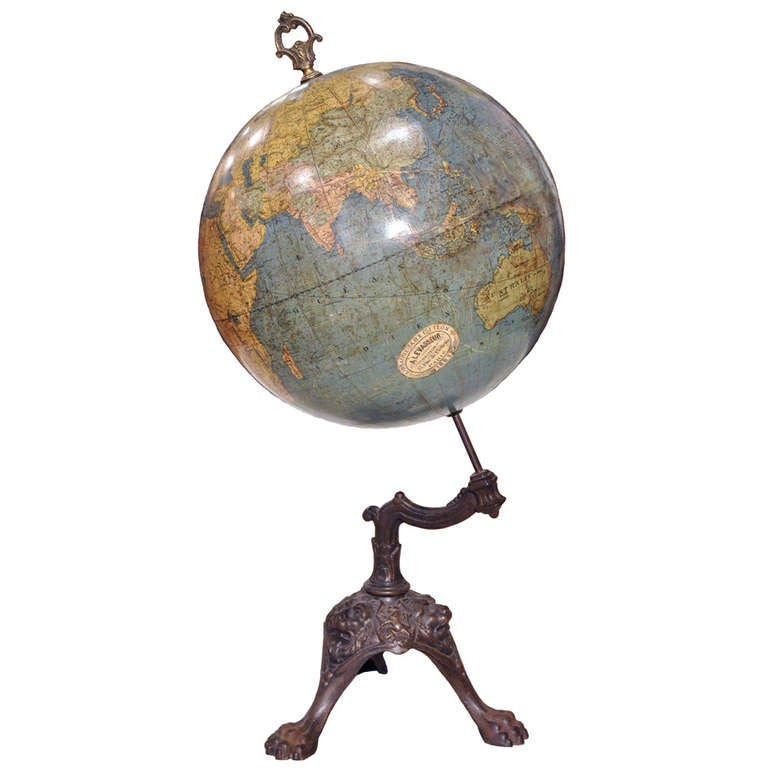 Antique French Terrestrial Globe On Cast Iron Base At 1stdibs