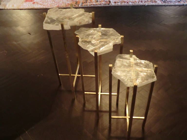 1970s Italian Gypsum Crystals Side Tables At 1stdibs