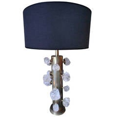 Italian Sculptured Crystal and Brass Table Lamp