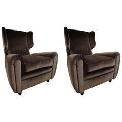 1950s Italian Armchairs, Reupholstered in Gunmetal Grey Silk Velvet