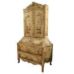 Early 20th Century Italian Rococo Style Painted Secretary Bookcase