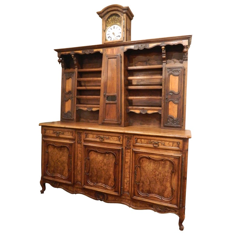 Matched French Vaisellier or Buffet with a Long Case Clock, 19th/20th Century