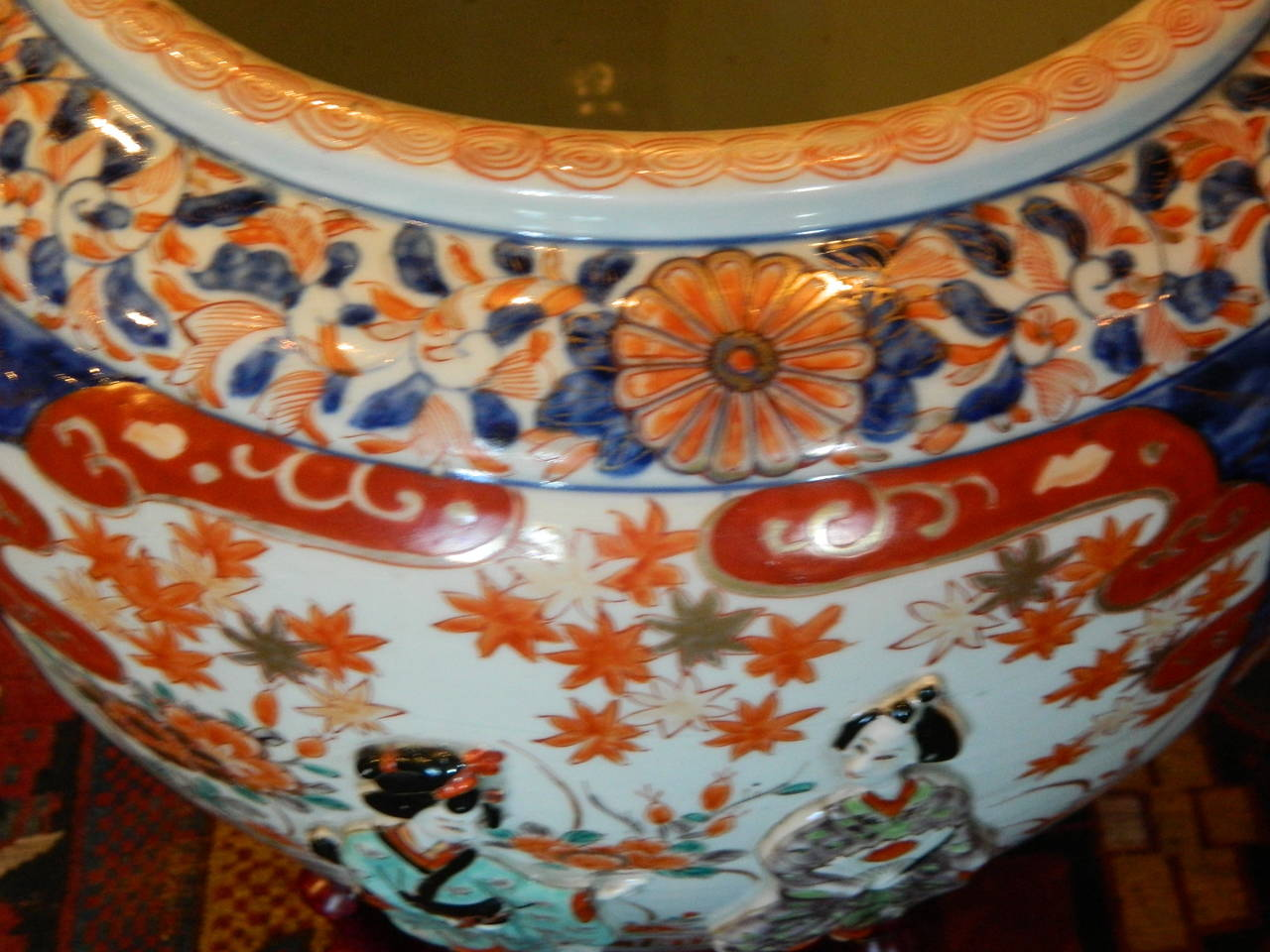 Imari jardiniere or fish bowl with relief design 19th for Fish bowl price
