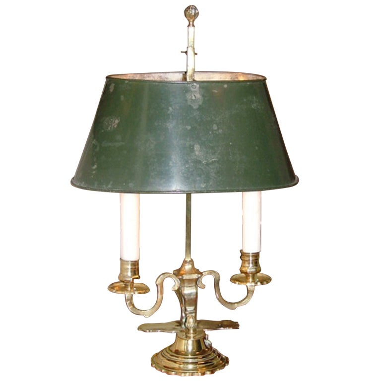 Louis XV Style Two-Light Bouillotte Lamp with Adjustable Tole Green Lamp Shade For Sale