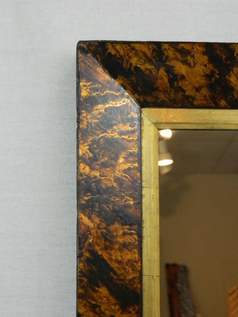 Faux Tortoise Shell Finished Mirror Frame With A Gold Leaf