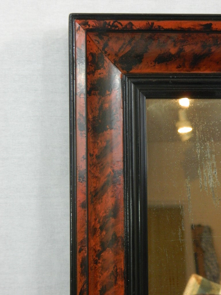Faux Tortoise Shell Finished Mirror Frame With Black