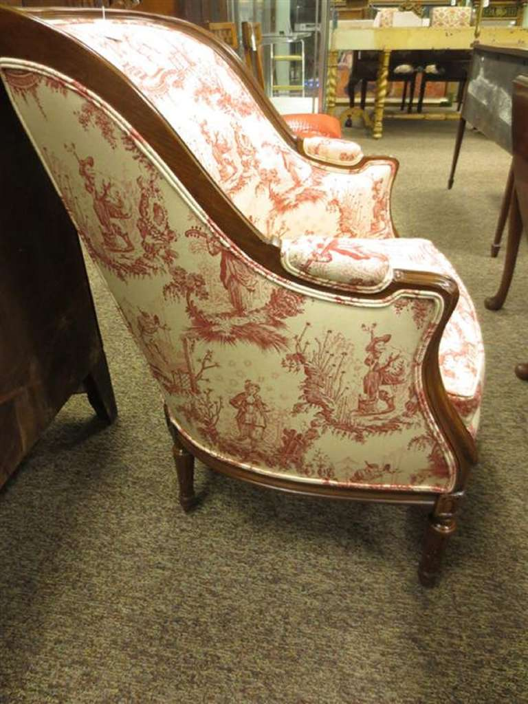 20th Century Louis XVI style Upholstered Carved Mahogany Bergere or Arm Chair 3