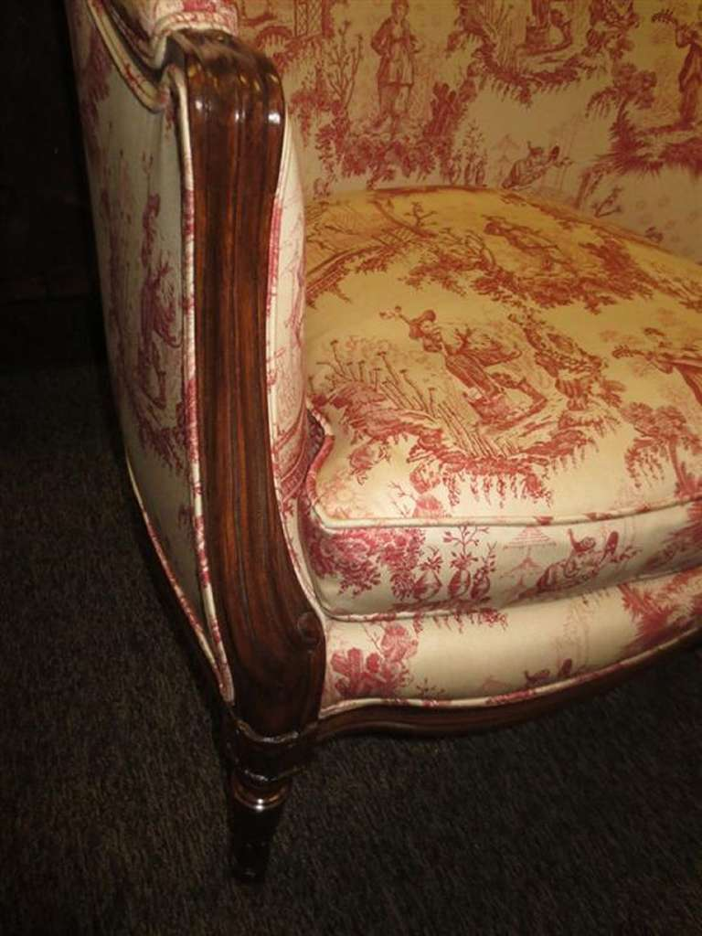 20th Century Louis XVI style Upholstered Carved Mahogany Bergere or Arm Chair For Sale 1