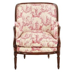 Louis XVI Style Upholstered Carved Mahogany Bergere or Armchair, 20th Century