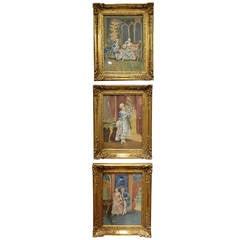 Set of Three Watercolors Depicting French Romantic Interior Scenes, Circa 1860