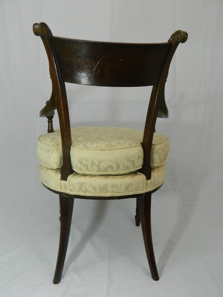 Regency Style Arm Chair With Upholstered Cushion At 1stdibs