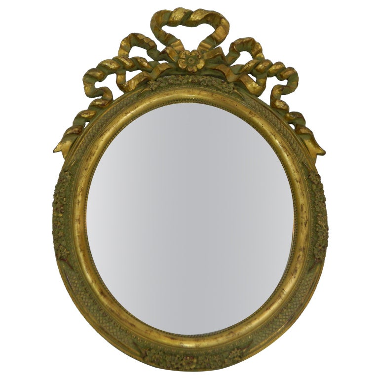 Italian Hand-Carved Gold Leaf Oval Vanity Mirror, 20th Century 1