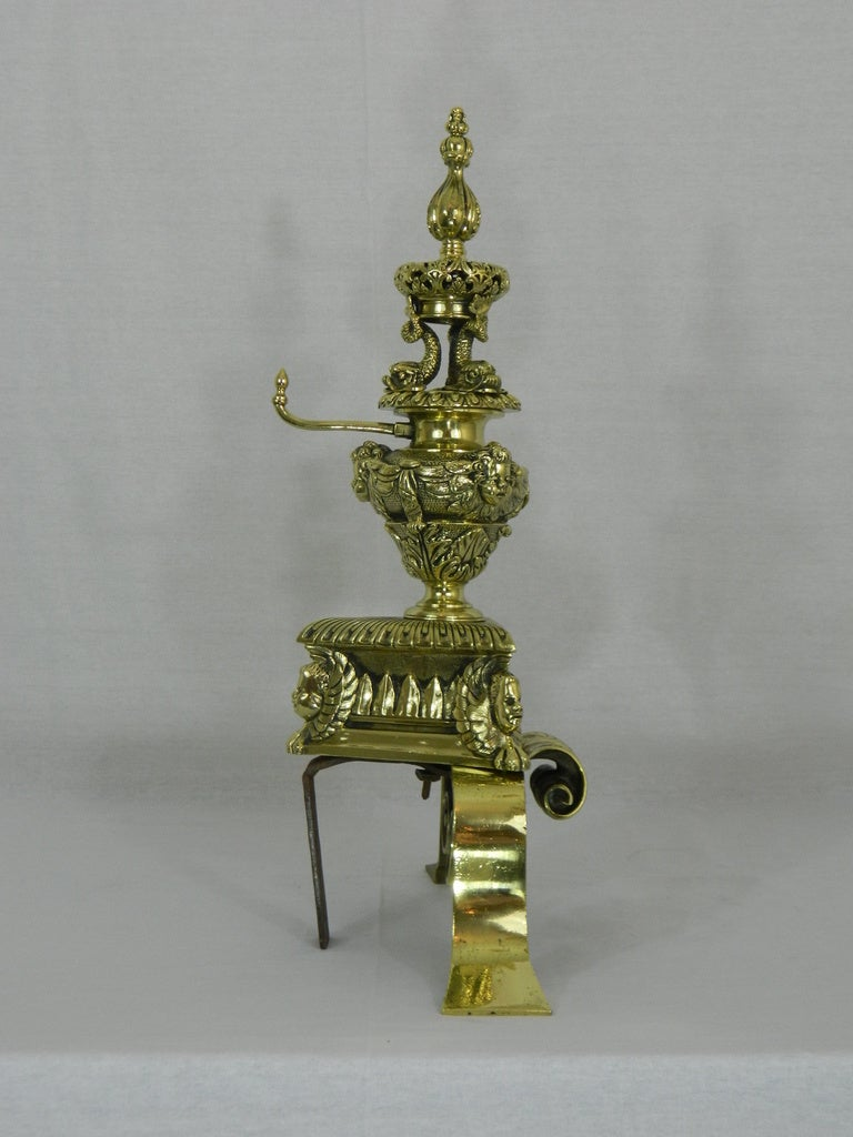 Pair of 19th Century Chenets or Andirons Beautifully Adorned For Sale 2