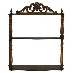 French Mahogany What Not Three-Tier Wall Hanging Shelf, 19th Century
