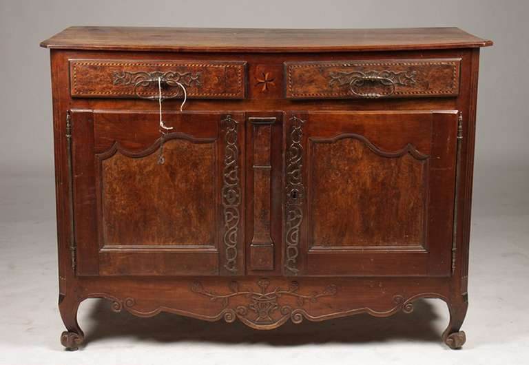 18th century French burl walnut and inlaid buffet from Lyon, France.