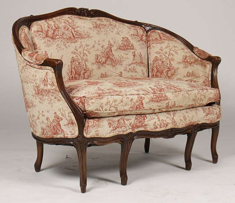 19th Century French Louis XV Style Carved Walnut Canape or Settee, 19th-20th Century For Sale