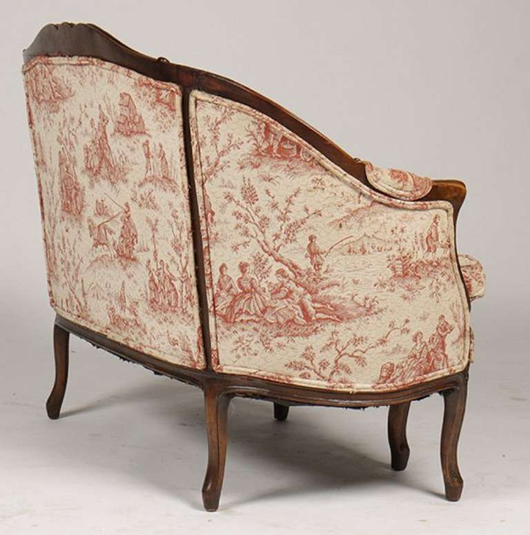 French Louis XV Style Carved Walnut Canape or Settee, 19th-20th Century For Sale 1
