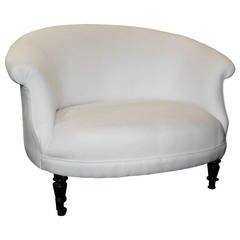 French Napoleon III Settee Raised on Turned Legs with Casters, circa 1880