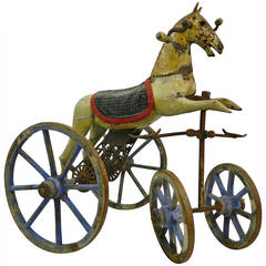 French Wood Horse Tricycle or Toy Riding Horse, 19th Century