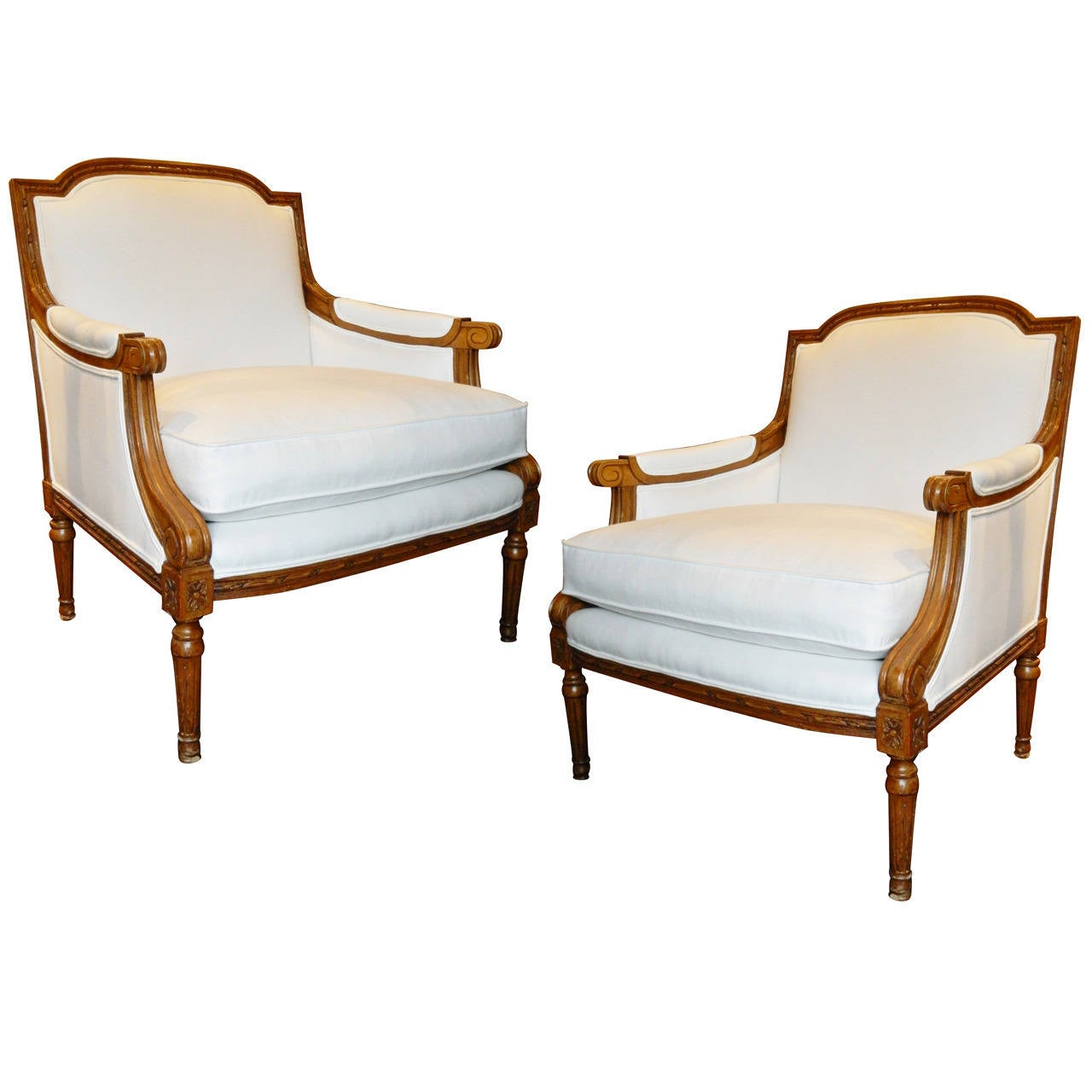 Early 20th Century Pair Of Upholstered Bergere Chairs In The Louis XVI Style