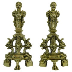 Pair of Chenets or Andirons with Cherubs and Lions Motif, 19th Century