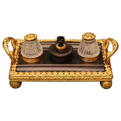 19th Century Regency Gilt and Patinated Bronze and Cut Glass Standish Inkwell
