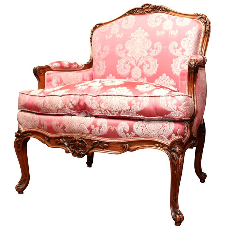 19th Century Upholstered Louis XV Style Walnut Bergere or Arm Chair