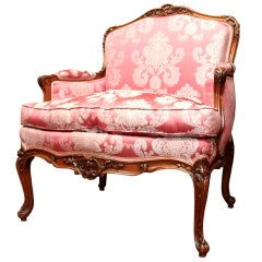 Upholstered Louis XV Style Walnut Bergere or Armchair, 19th Century