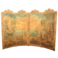 French Neoclassical Painted Canvas Four-Panel Screen Harbor Scene, 19th Century