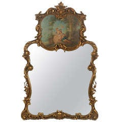 Late 19th/Early 20th Century Louis XIV Style Gilt Carved Trumeau Mirror with Central Cartouche