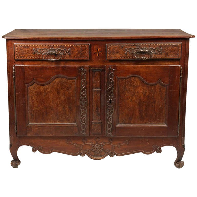 18th Century French Burl Walnut and Inlaid Buffet From Lyon, France For Sale