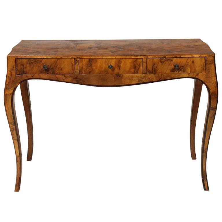 Early 20th Century Italian Olive Wood Console Or Desk 1