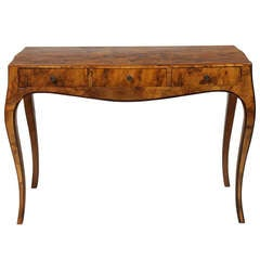 Early 20th Century Italian Olive Wood Console or Desk