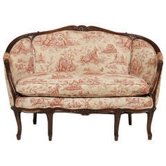 French Louis XV Style Carved Walnut Canape or Settee, 19th-20th Century