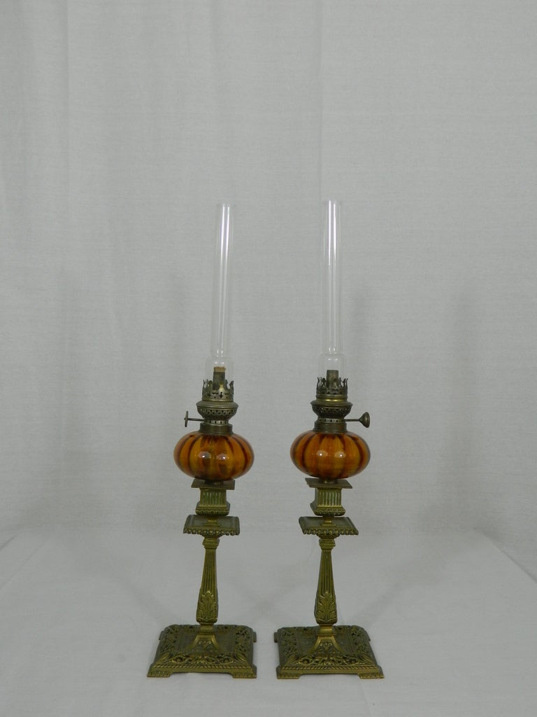 Pair of English Townshend & Co. Gas Table Lamps, circa 1880 2