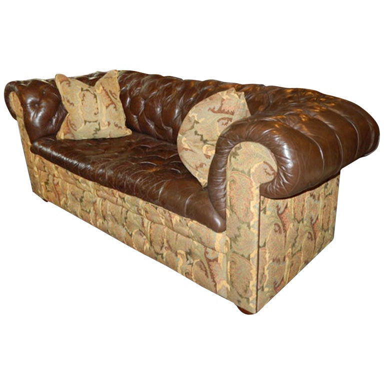 Leather and Fabric Chesterfield Sofa, 20th Century at 1stdibs