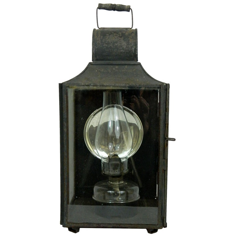 Carriage Gas Lantern with Mercury Glass Reflector at 1stdibs