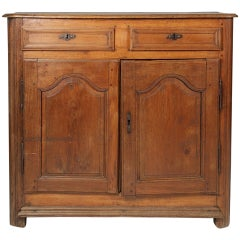 18th Century French Carved Walnut Buffet Over Two Raised Panel Doors
