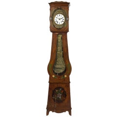 French Provincial Morbier Tall Case Clock, Vignaud Bonnet, 19th Century