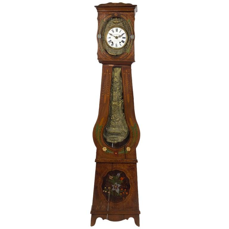 French Provincial Morbier Tall Case Clock, Vignaud Bonnet, 19th Century