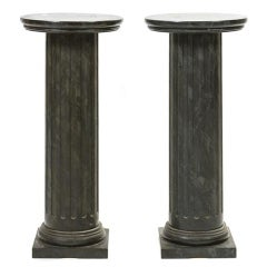 A Pair of Faux Marble Fluted Column Pedestals