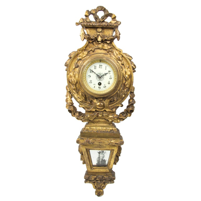 Neoclassical Giltwood Cartel Clock, Late 19th Century