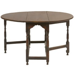 William and Mary Style Oak Gate-Leg Table