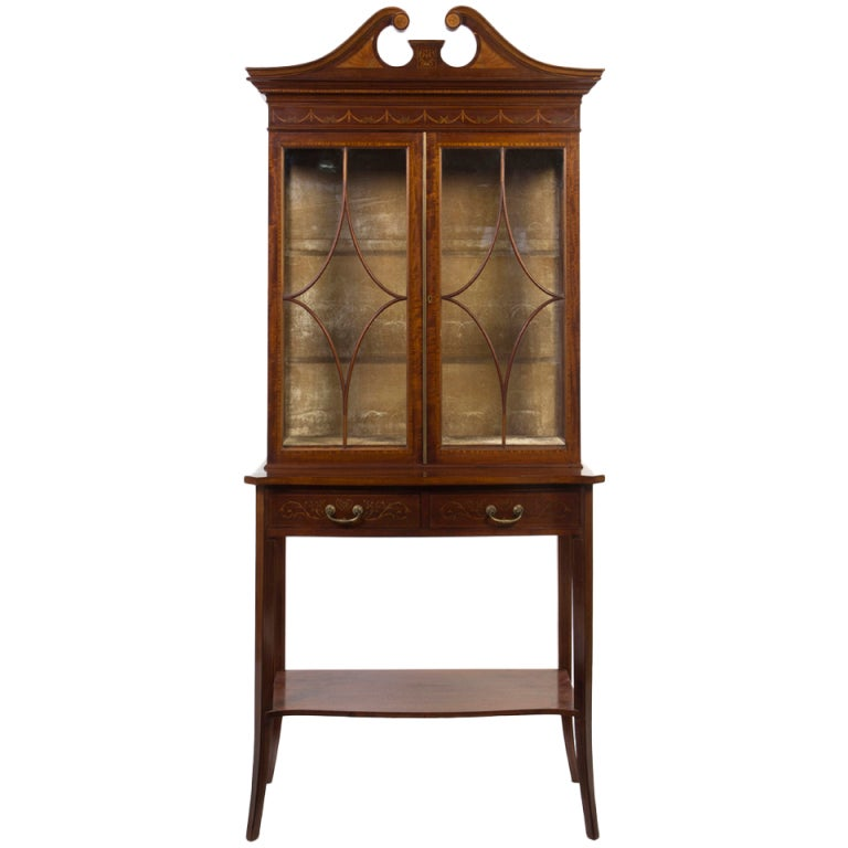George III Style Mahogany, Satinwood and Marquetry Bookcase, 19th Century