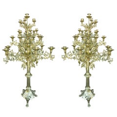 Circa 1860 Pair of Tall Floor Standing Twenty Five Candle Candelabras