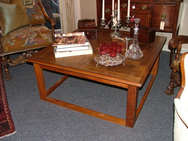Large Square Coffee Table Handcrafted Utilizing French Parquet At 1stdibs