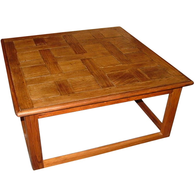 Large Square Coffee Table Handcrafted Utilizing French Parquet 1